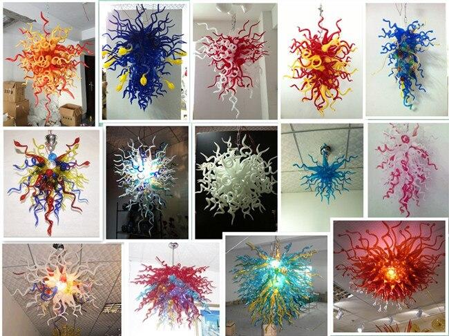 Flower Shape Blue Crystal Art Blown Glass Murano Chandelier Lighting for House Decor in Chandeliers from Lights Lighting