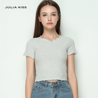 Women Ruffled Trimmings Ribbed Crop Tops Soft And Stretchy Short Sleeve T Shirts Basic Cropped Top