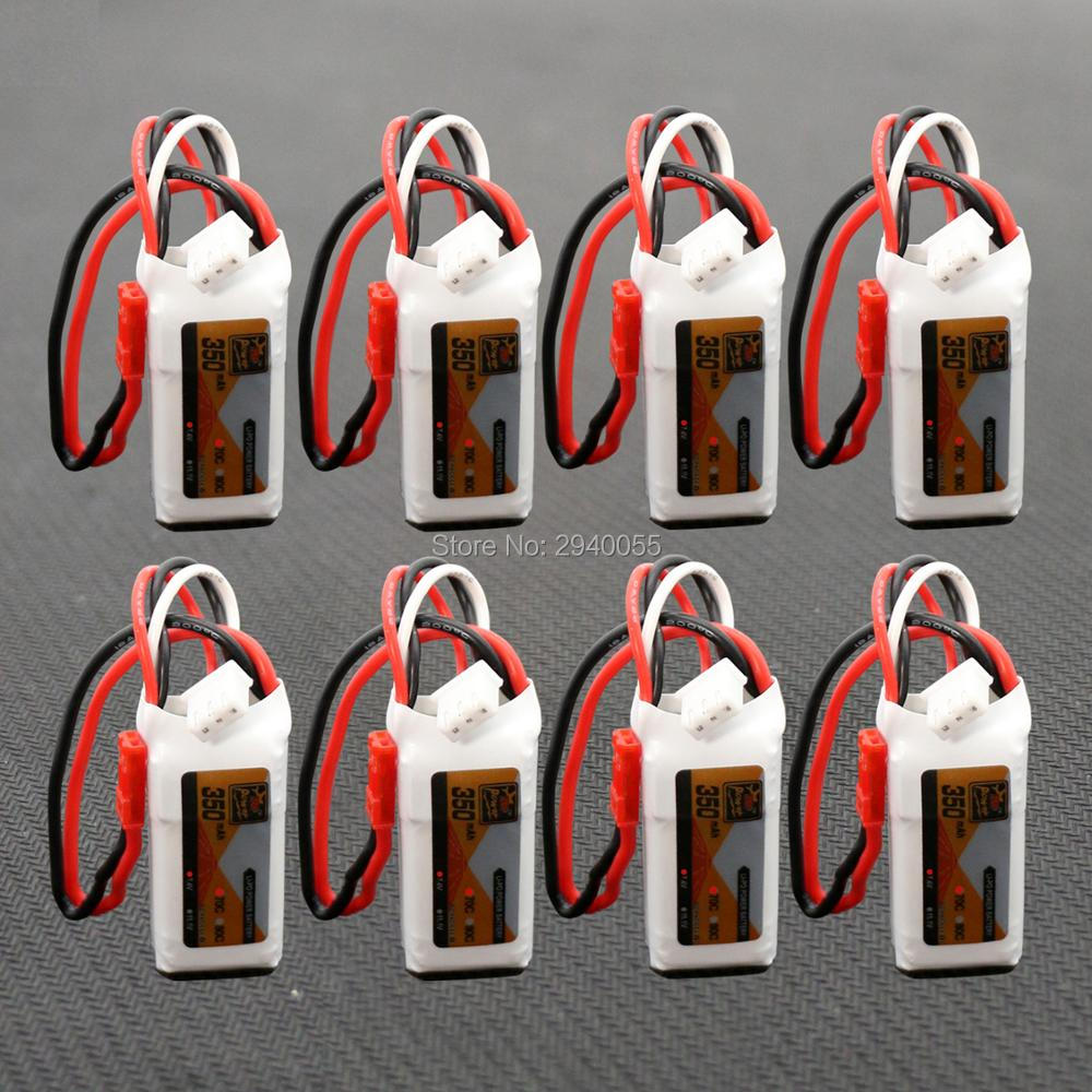 2S 7.4V 350mAh 70C Lipo Battery 8pcs For Mini RC Helicopter Quadcopter Airplane Model DLG1000 F300BL DTS130 mos rc airplane lipo battery 3s 11 1v 5200mah 40c for quadrotor rc boat rc car