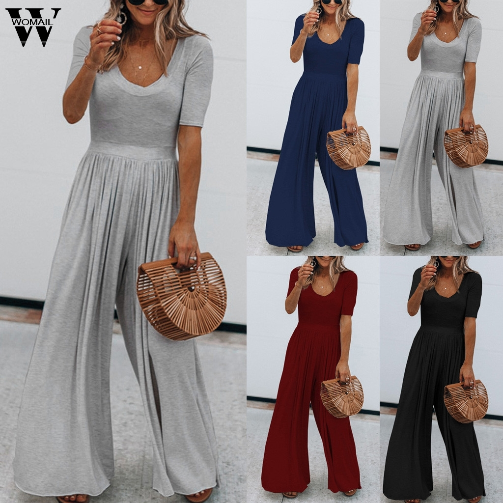 Womail bodysuit Women Summer Short Sleeve Long   Jumpsuit   Solid loose Casual fashion High Quality NEW 2019 A18