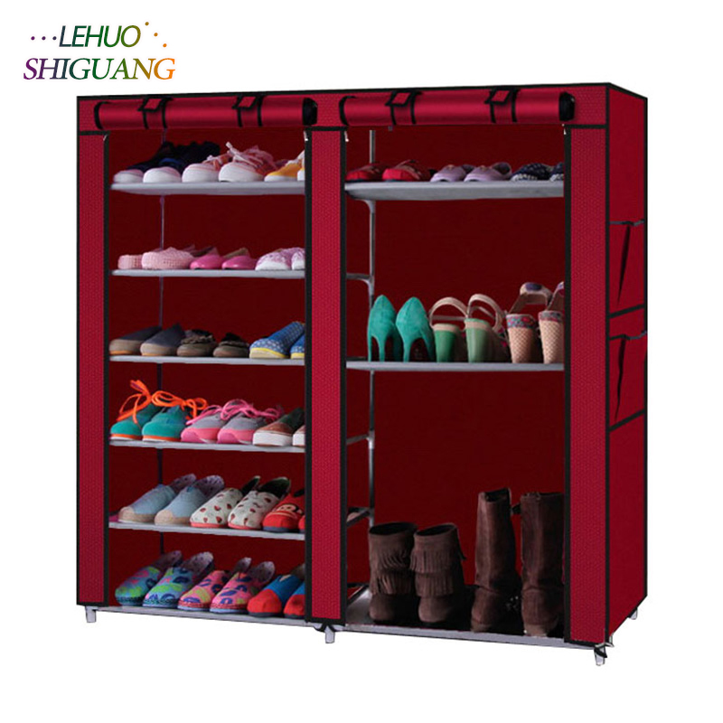 Double Rows 9 grid Shoe rack Non-woven fabric Assembly shelf Shoe cabinet home living room Furniture organizer storage cabinet double row 12 grid shoe rack wine red non woven organizer storage cabinet assembly shelf shoe cabinet home living room furniture