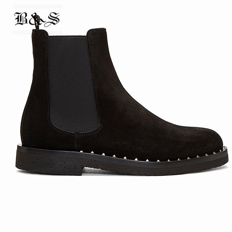 Black& Street 19 Luxury personalized rivets Sole genuine leather Chelsea Men Boots Raw Rubber Sole leisure Fashion denim Boots