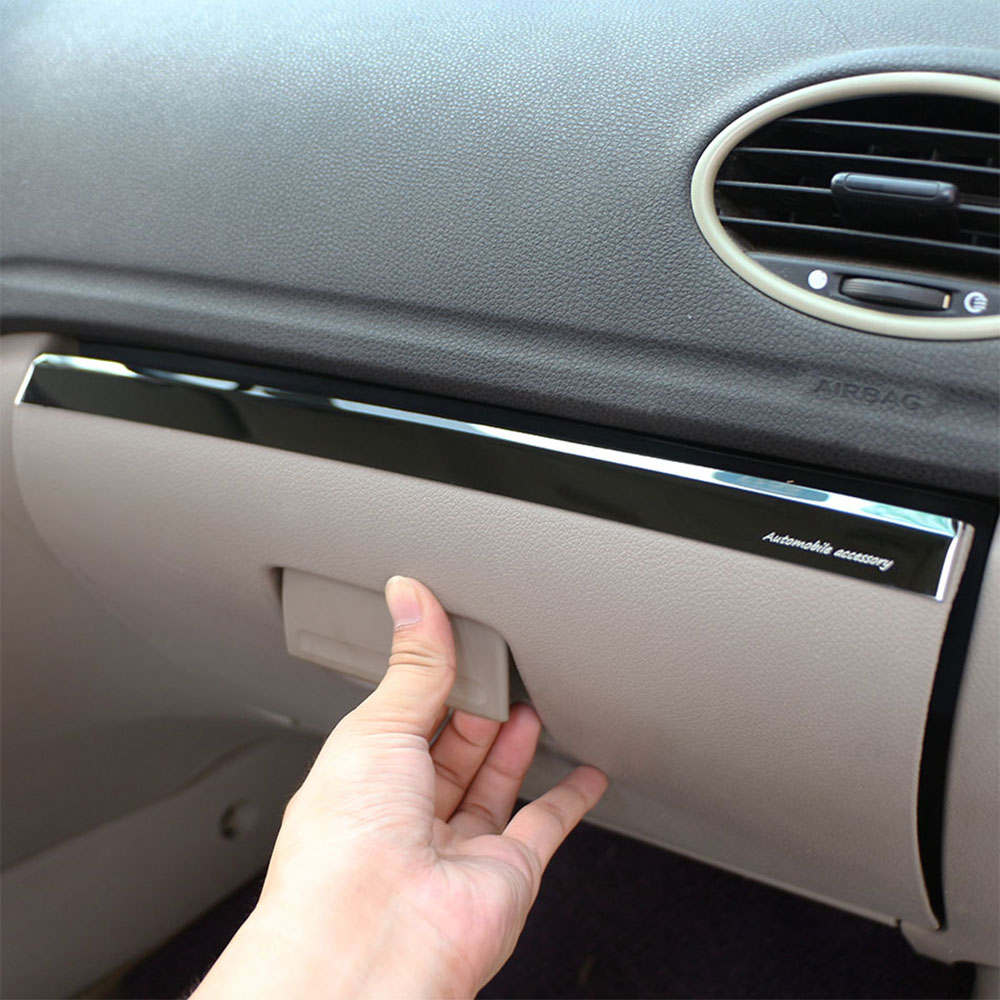 1Piece Stainless Steel Car Glove Box Copilot Storage Sequins Sticker Trim Fit for <font><b>Ford</b></font> <font><b>Focus</b></font> 2 <font><b>MK2</b></font> <font><b>2005</b></font> - <font><b>2011</b></font> LHD Accessories image