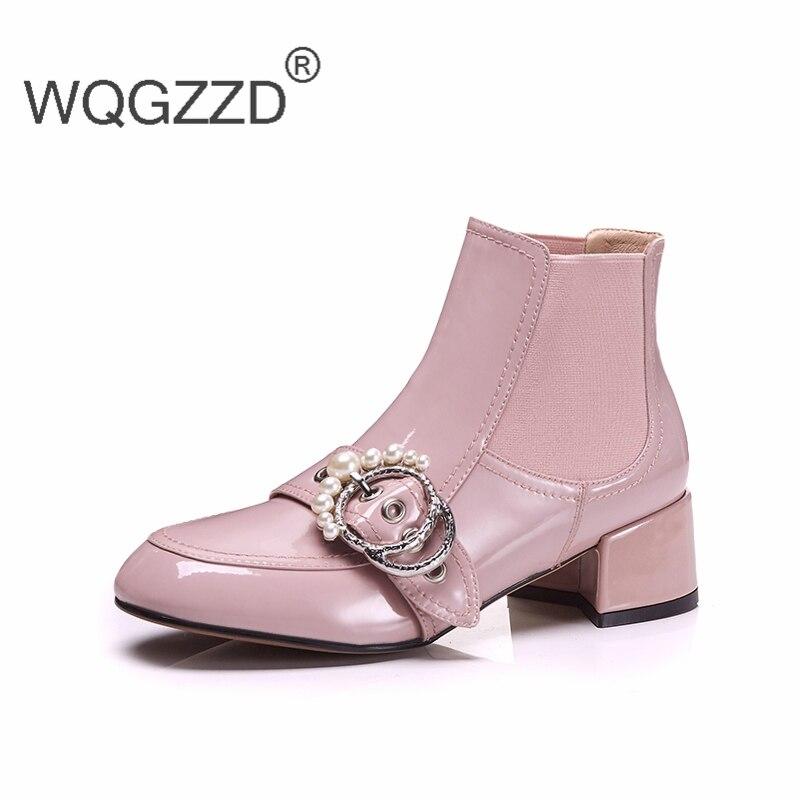 Marca Suede Leather Decoración Mujer Tobillo De Leather Cow Botas Patent Black Zapatos pink Charol Cordón black Planos Lujo Hebilla rrgqS