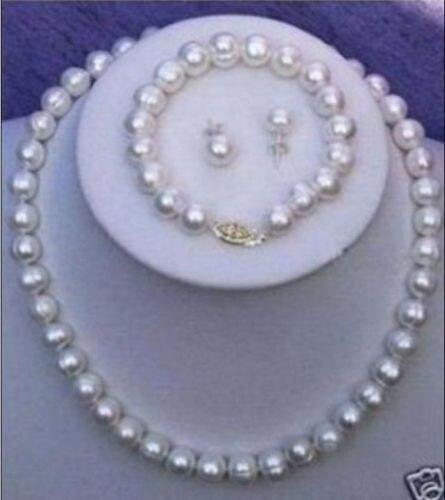 11-12 MM naturel mer du sud BAROQUE blanc perle collier BRACLET boucle d'oreille 925 argent