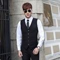 Высокое качество жених смокинги жилет новый стиль мужские костюмы жилет элегантный сплошной цвет бизнес формальный костюмы жилет