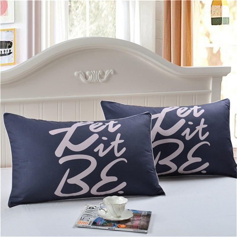 1pc Blue Color Let It Be Letter Printed Pillow Case Cover Comfortable Pillowcase Living Room Bedclothes Home Textile Supplies