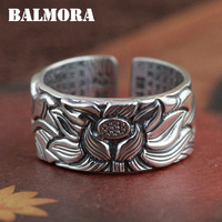 BALMORA Vintage Flower 990 Pure Silver Buddhistic Lotus Flower Open Rings For Women Gift Thai Silver