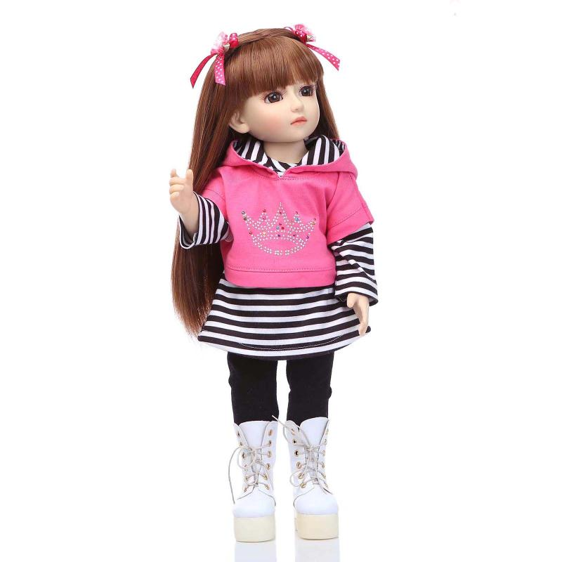 45cm Doll Fashion Full Vinyl Girl Bjd Doll Collection SD BJD Doll Realistic Baby Alive T ...