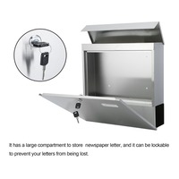(Ship From DE)37x37x10cm Stainless Steel Modern Home House Mailbox Lockable Outside Mail Box Newspaper Letter Mail Post Box