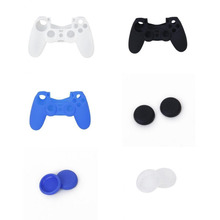 3pcs Protection Covers Cases + 3 Pairs Plugs Thumbstick Joystick Caps for PS4 Controller