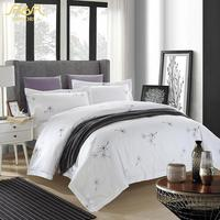 ROMORUS Snow White Hotel Bedding Luxury 5 Star Elegant wedding Quality Cotton Duvet Cover Set King Queen Size Bed in a Bag