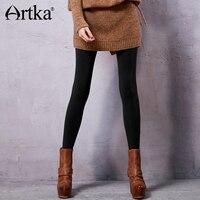 Artka 2017 Autumn Winter Long Elastic Free Size Black And Grey Stocking Leggings ZA15156D