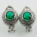 Created Emerald 925 Sterling Silver Earrings TE514