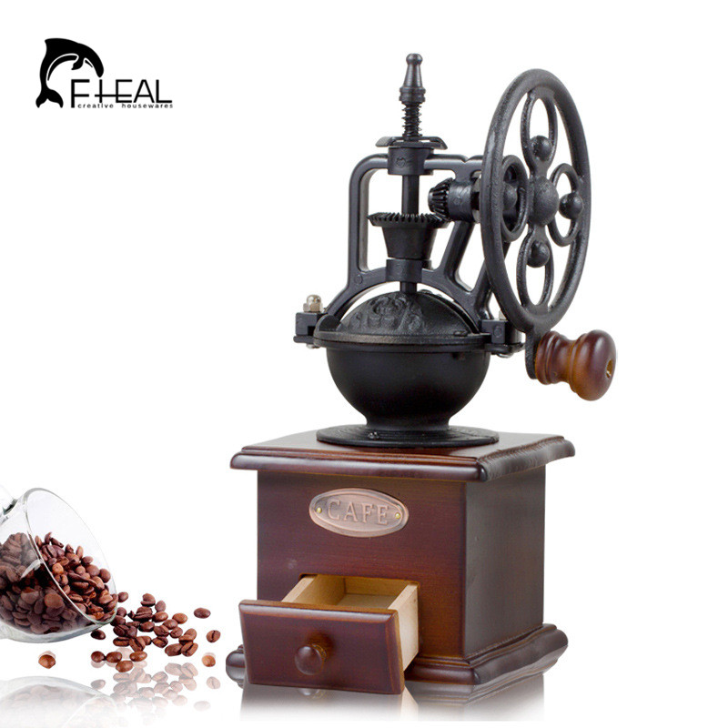FHEAL Vintage Ferris Wheel Manual Coffee Grinder With Ceramic Movement Retro Wooden Coffee Mill For Home Decoration-in Manual Coffee Grinders from Home & Garden    1