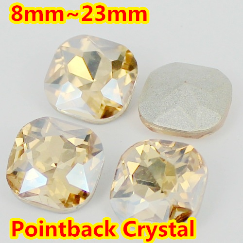 Gold Shadow Square Shape Crystal Fancy Stone Point Back Glass Stone For DIY Jewelry Accessory.8mm 10mm 12mm 14mm 18mm 23mm