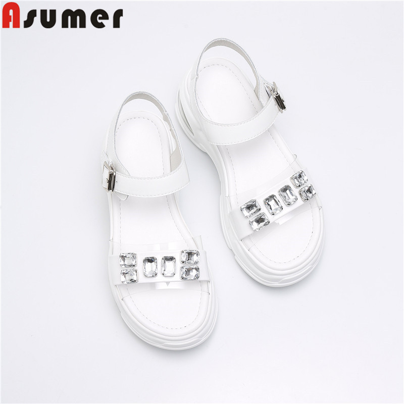 Asumer size 34-41 new summer sandals genuine leather shoes women buckle flat platform shoes crystal high heels sandals 2019 Asumer size 34-41 new summer sandals genuine leather shoes women buckle flat platform shoes crystal high heels sandals 2019