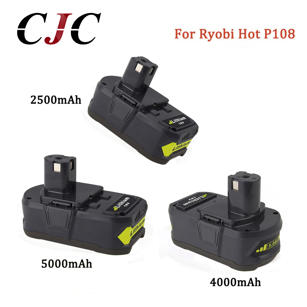 18V 2500mAh/4000mAh/5000mAh Li Ion For Ryobi Hot P108 RB18L40 Rechargeable Battery Pack Power Tool Battery For Ryobi For ONE+