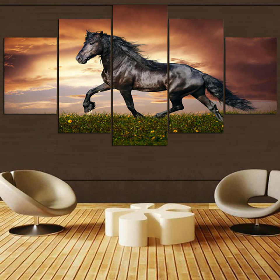 HD Print Modern Home Painting Modular Pictures 5 Panel Running Black Horse Framework Wall Art Poster Decor Living Room Canvas
