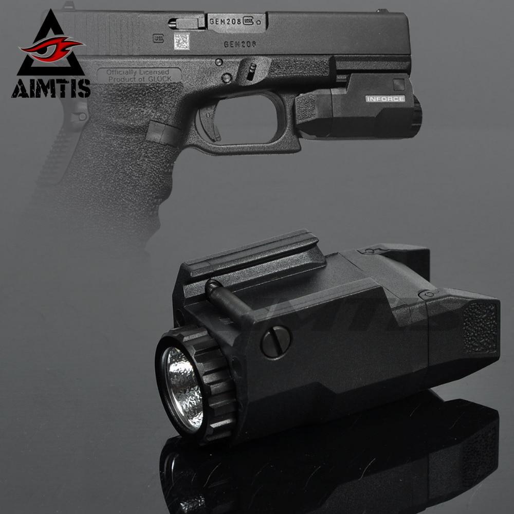 AIMTIS Compacto APL Tactical Glock Pistol Luz Constante/Momentâneo/Strobe Lanterna LED de Luz Branca Para Glock Trilhos