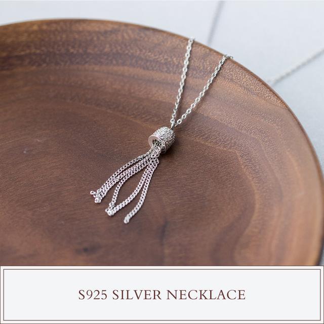 Novas mulheres Reais. prata esterlina 925 Pingente de Borla Colar charme jóias Boho GTLX1025