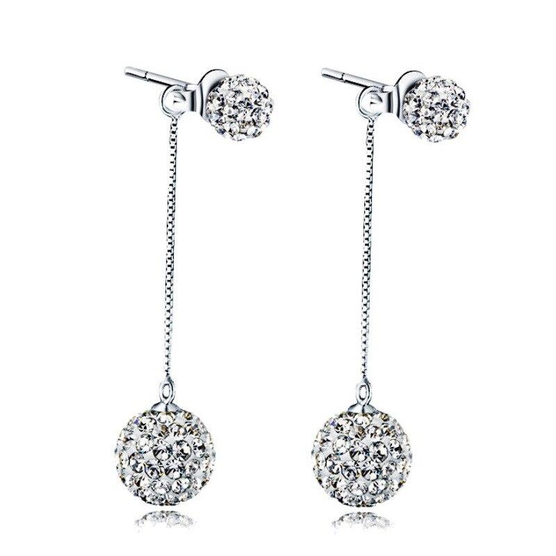 100 925 Sterling Silver Hot Sale Shiny Crystal Double Shambala Female Stud Earrings Women Long Tassels Earring Jewelry Gift in Stud Earrings from Jewelry Accessories