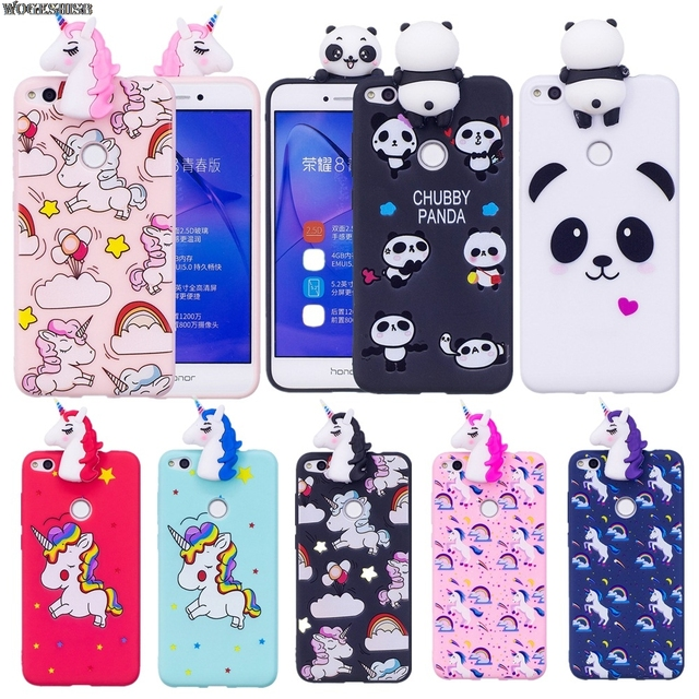wholesale dealer 9c8dd 7ea69 US $2.87 |Cute 3D Cartoon TPU Phone Case For Huawei P8 Lite 2017/Honor 8  lite/P10/P10 Lite Rainbow Unicorn Horse Panda soft Silicone Cover-in ...