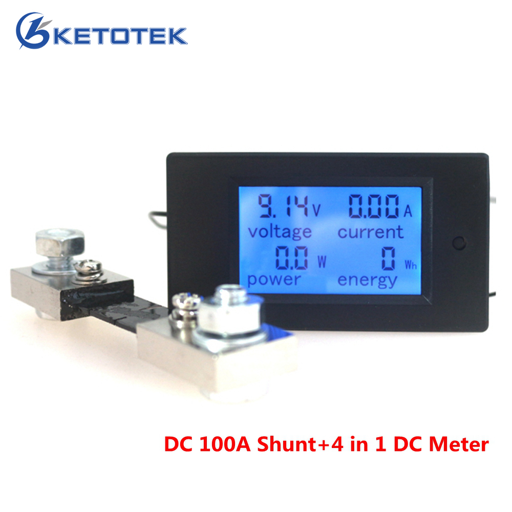 DC 6.5-100V 100A 4 in 1 Digital DC Voltmeter Ammeter Watt Energy Meter with DC 50A/75mV Shunt LCD Display Voltage Current Tester hote sale dc 0 50a dc 0 1000v dc voltage and ampere meter with current shunt 96 48mm dc volt