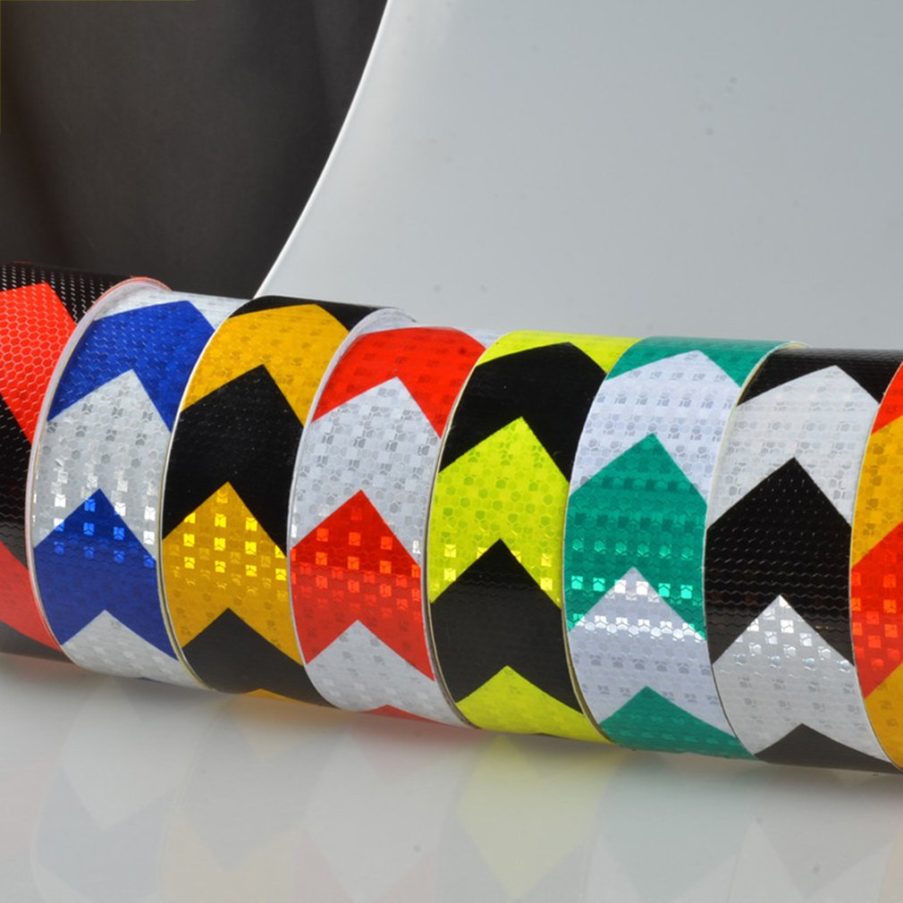 NEW 5CM Width Long Self-adhesive PVC Reflective Safety Warning Tape Road Traffic Construction Site Reflective Arrow 45M 3M