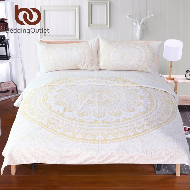Beddingoutlet Gold Mandala Duvet Cover Set Bohemia Bedding Floral