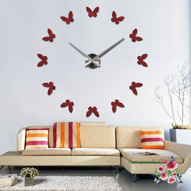 25″- 40″ Romantic Butterflies DIY Frameless Quartz Non-ticking Silent 3D Large Big Mirror Wall Clock Room Decor Wall Sticker