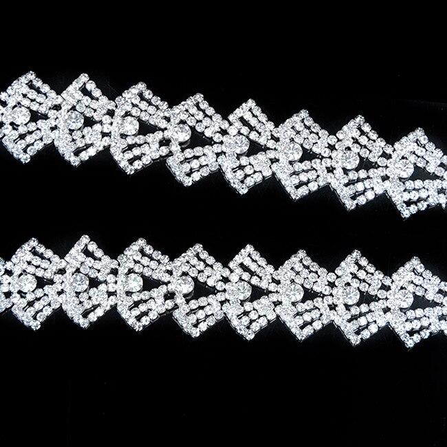 100Yards Crystal Rhinestone Trim Silver Applique Chain Brass For Wedding Decoration