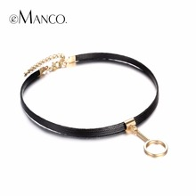 eManco Attractive Popular Gothic Style Charms Tattoo Choker Necklaces for Women & Ladies Black Faxu Leather Brand Jewelry 2016