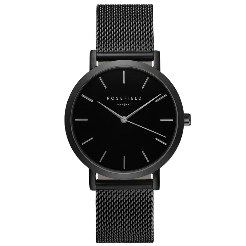 Ladies Ultra-Thin Watch - black mesh link strap