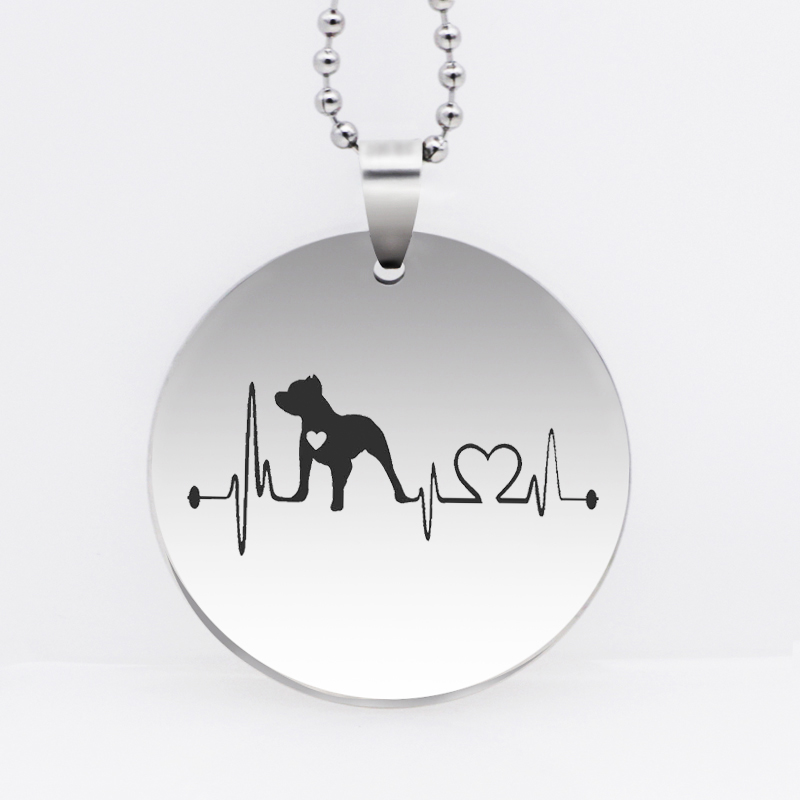 Stainless Steel Pitbull Pendant Necklace Heartbeat Lifeline Dog Necklace Jewelry Drop Shipping YLQ6135