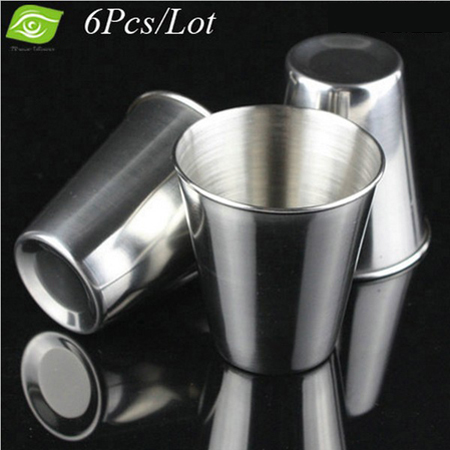 6Pcs/Lot <font><b>Stainless</b></font> <font><b>Steel</b></font> <font><b>Cup</b></font> Large Outdoor Drinking Water <font><b>Cup</b></font> <font><b>Portable</b></font> Beer <font><b>Mug</b></font> Large With Flannel Bag