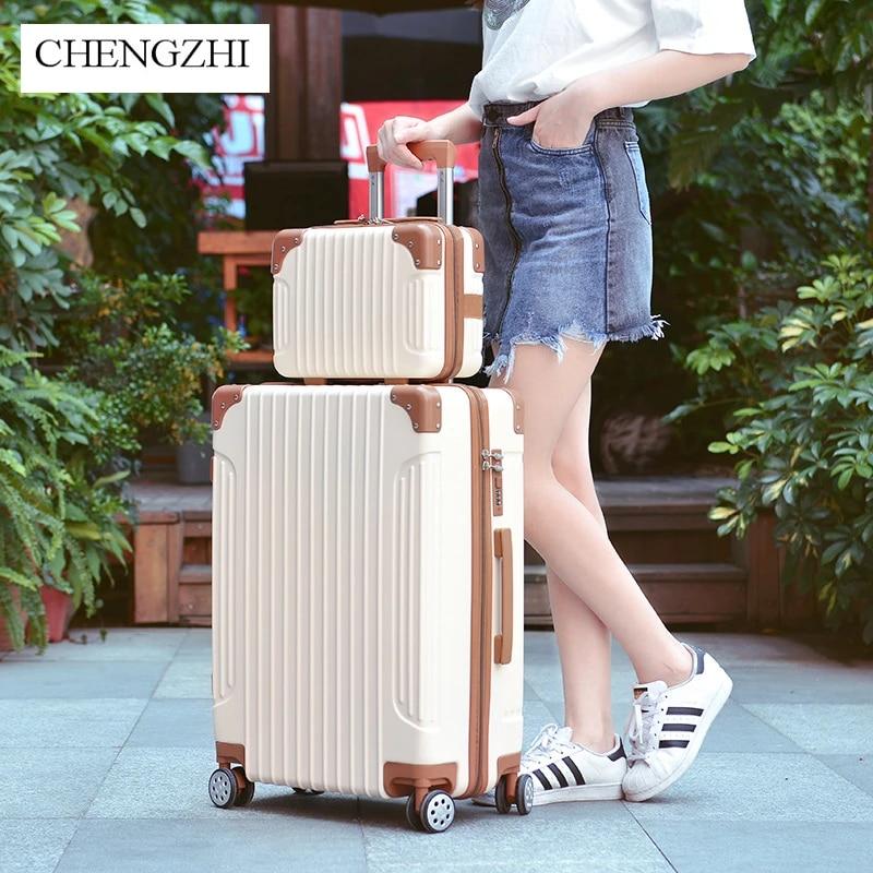 Чемодан на колесиках CHENGZHI, набор для багажа из АБС-пластика, 20 дюймов, 22 дюйма, 24 дюйма, 26 дюймов