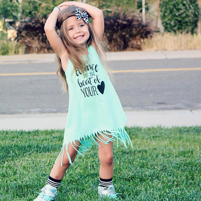 Baby Girl Apparel Summer Girls' fashion dresses, letters Dance to the beat of your Heart Light Green Girls Tassel Dresses