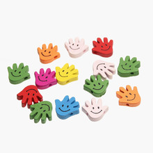 Фотография Wooden Hand Smile Styles Beads 50pcs  Spacer Beading Toys For Baby DIY Crafts Kids Toys & Pacifier Clip 20x19mm