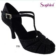 Free Shipping  2017 Black Cystal  Latin Shoes Woman Salsa Dance Shoes 775