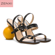 black GE leather Chic Gladiator Sandals Woman Peep Toe Cross Strap Strange High Heel Shoes Woman Party Shoes round ball heels цена и фото