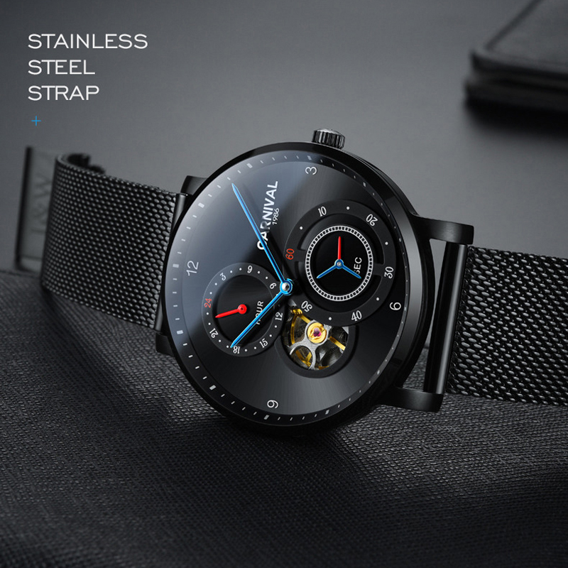 CARNIVAL Automatic Watch Men Blue Needle Small Second Dial 24 Hours Display Fashion Tourbillon Mechanical Watches  Montre Homme