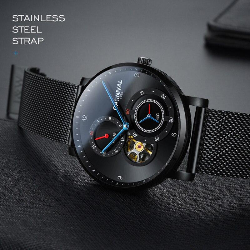 Carniva men relógio automático malha banda breve ultra fino pequenos segundos dial 24 horas relógio mecânico de luxo simples relógio de negócios - 4