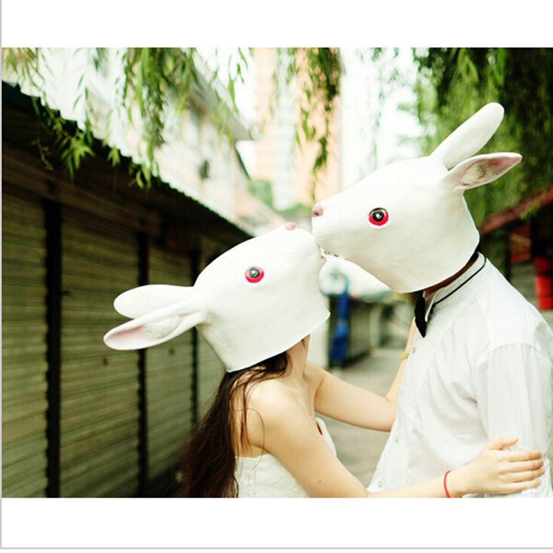 Japanese Style Creative Halloween Animal Masks Latex Lovely Long Ears Rabbit Mask Adult Costume Mask Rabbit Head Retaining Cap