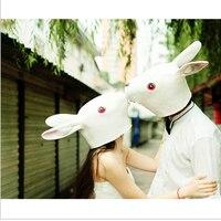 Japanese Style Creative Halloween Animal Masks Latex Lovely Long Ears Rabbit Mask Adult Costume Mask Rabbit Head Retaining Cap