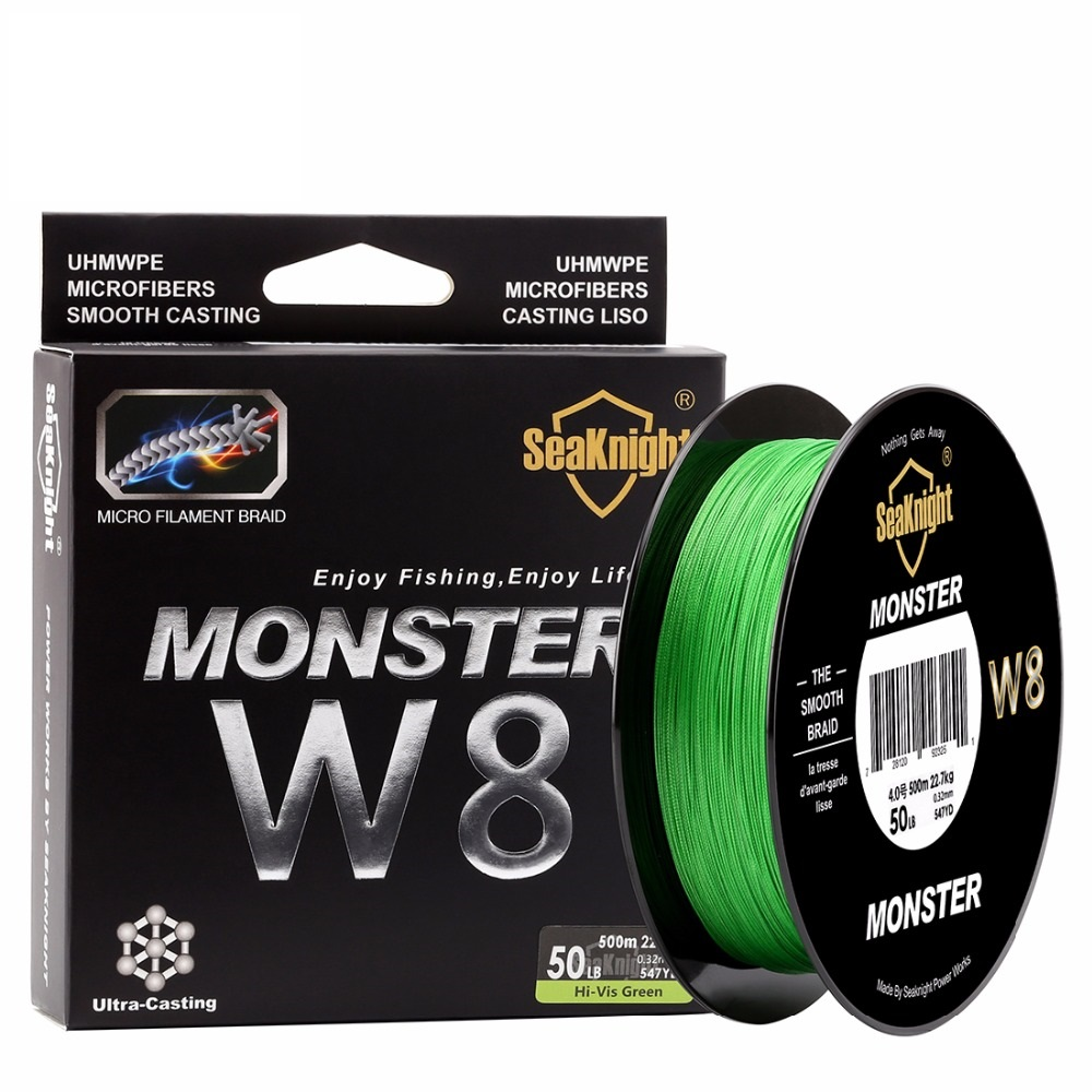 super 500M / 546YDS MONSTER W8 Braided Fishing Lines 8 Weaves Wire Smooth PE Multifilament Line for Sea Fishing 20-100LB new quality 4x braided fishing line 500m 6 100lb super pe fiber line fishing tool for angler 0 1 0 55mm for fishing wires