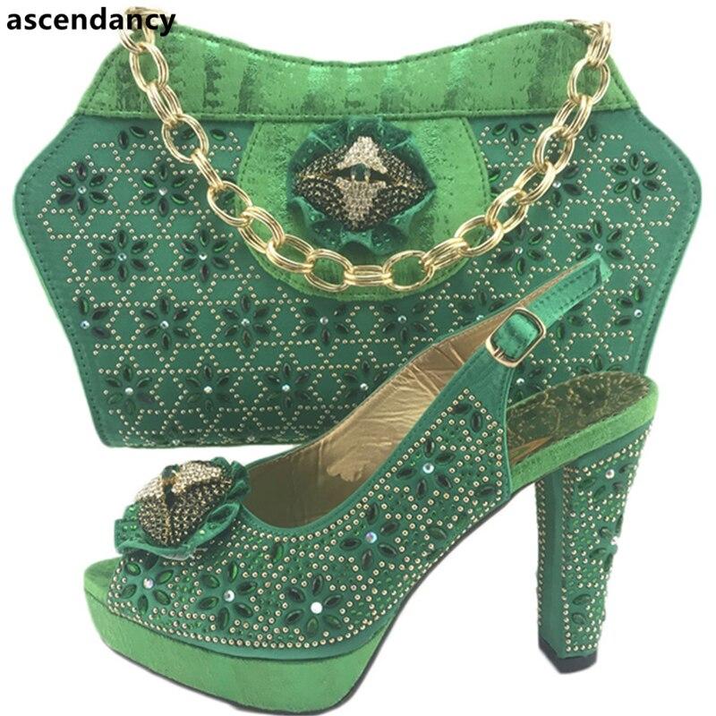Bolsa oro Nigeriano Nigerianos Partido Rhinestone De Con Último rosado Conjunto Decorado Del verde Boda Zapatos Y Africana Oro Color Azul ZqwIAxT0