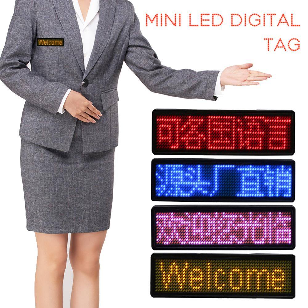 New Sale Rechargeable Led Name Tag Mini Digital Programmable Scrolling Message Tag Badge Sign For Festival Support  All Language