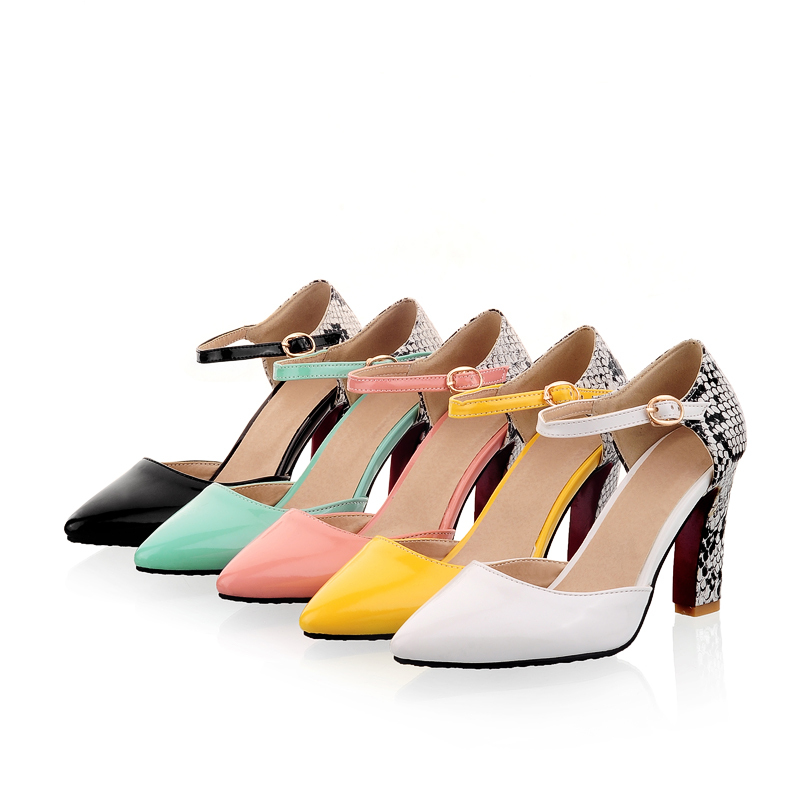 High Heels Pqecfs Big Size 30-46 High Quality Hot Sale New Fashion Women Mixed Color Snake Pu Leather High Heel Sandal 5 Colors