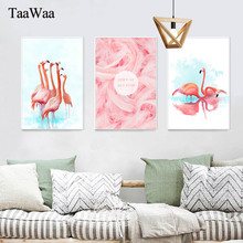 TaaWaa Pink Flamingo Simple lines Posters and Prints Nordic Art Minimalist Abstract Painting For Living Room Decoration